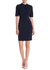 Maggy London Asymmetric Shoulder Draped Sheath Dress