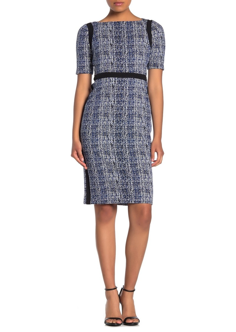 Maggy London Boat Neck Textured Sheath Dress (Petite)