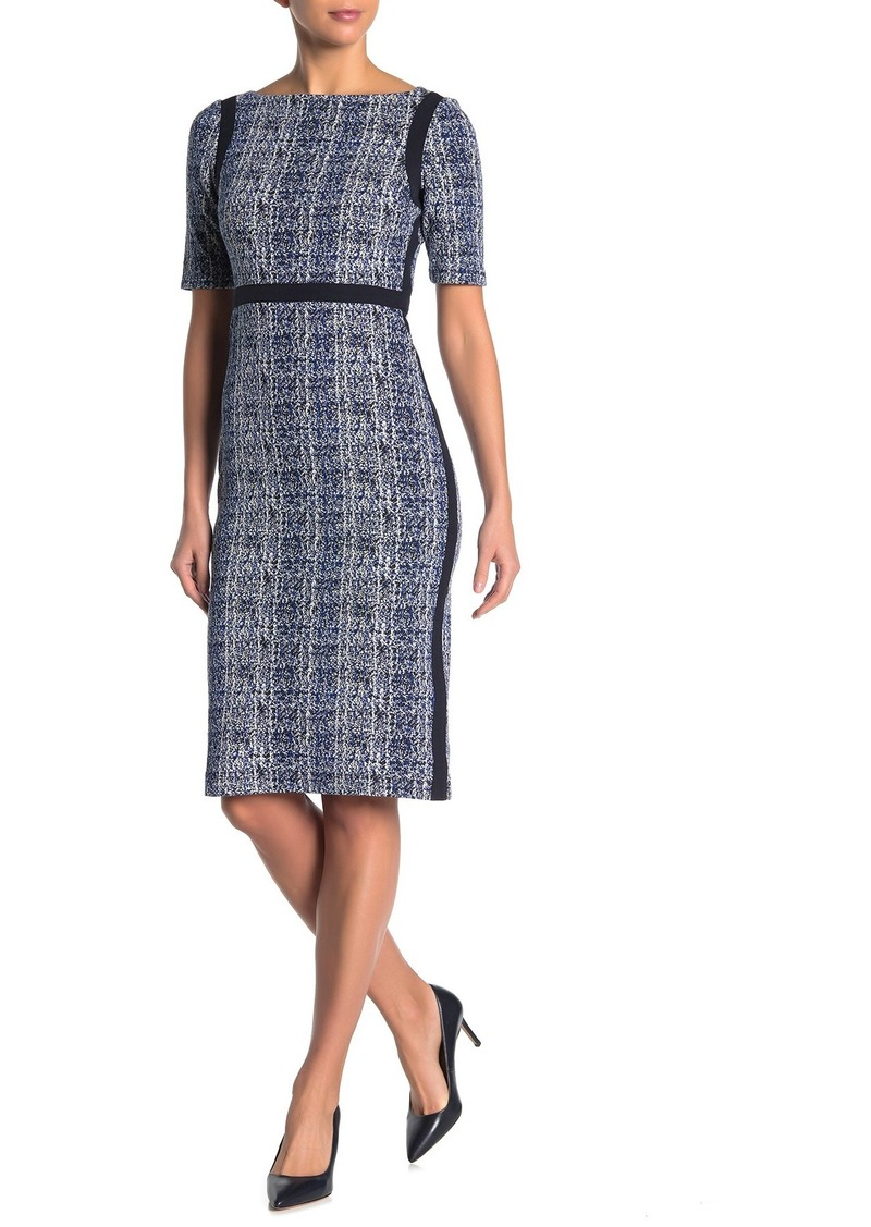 Maggy London Boatneck Elbow Sleeve Knit Sheath Dress