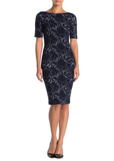 Maggy London Boatneck Shadow Flower Knit Dress (Petite)