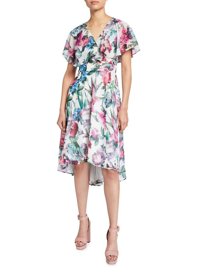 Maggy London Butterfly-Sleeve Midi Dress
