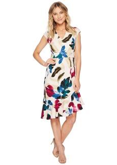 Maggy London Cap Sleeve Asymmetrical Flounce Dress