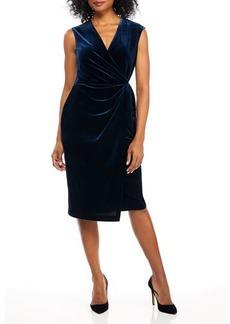 Maggy London Cap-Sleeve Velvet Wrap Dress