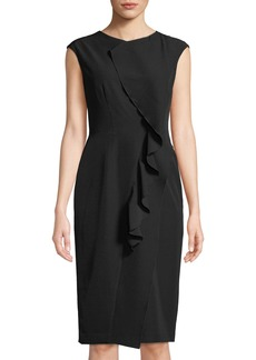 Maggy London Cascading-Ruffle Scuba Sheath Dress