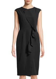 Maggy London Cascading-Ruffle Scuba Sheath Dress
