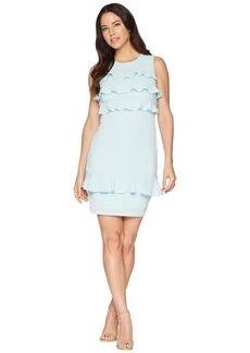 Maggy London Catalina Crepe Tiered Ruffle Sheath Dress