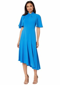 Maggy London Catalina Crepe Twist Neck Asymmetrical Hem Midi Dress