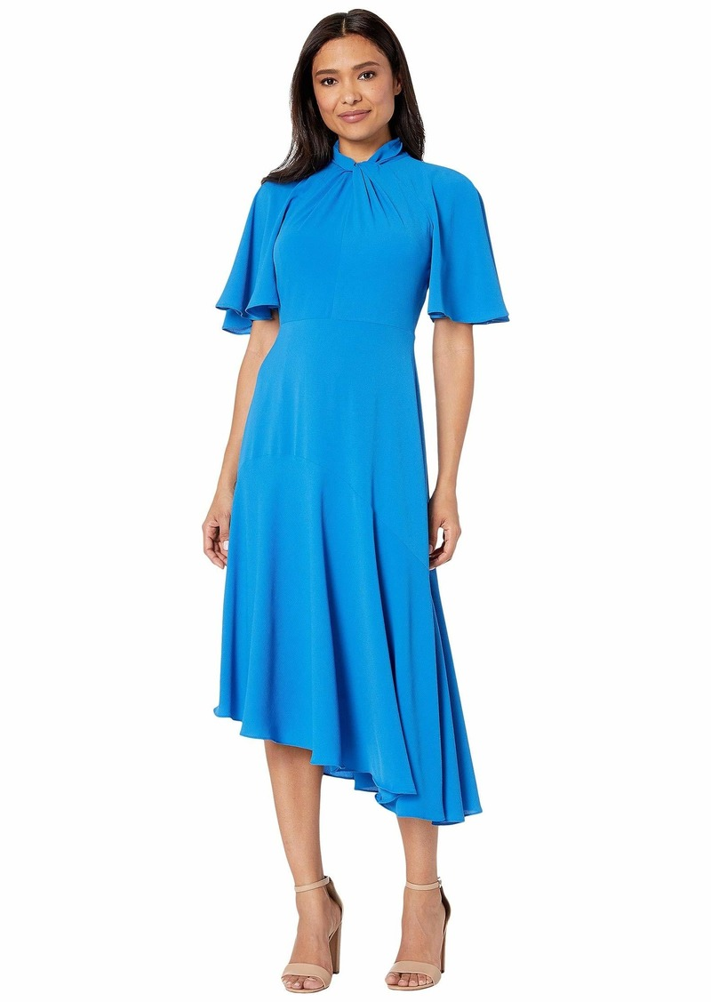 Maggy London Catalina Crepe Twist Neck Asymmetrical Hem Midi Dress