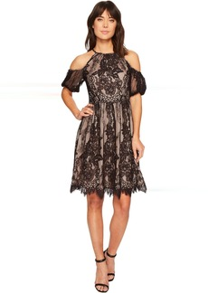 Maggy London Chantilly Lace Placed Cold Shoulder Fit and Flare