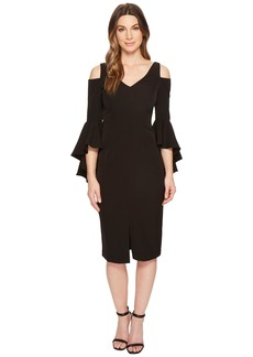 Maggy London Cold Shoulder Sheath Dress with Ruffle Sleeve