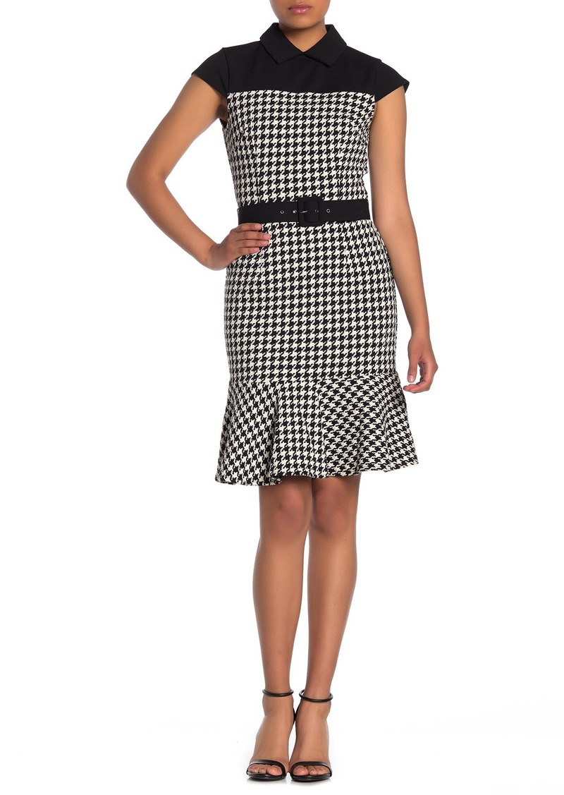Maggy London Collared Houndstooth Belted Dress (Petite)