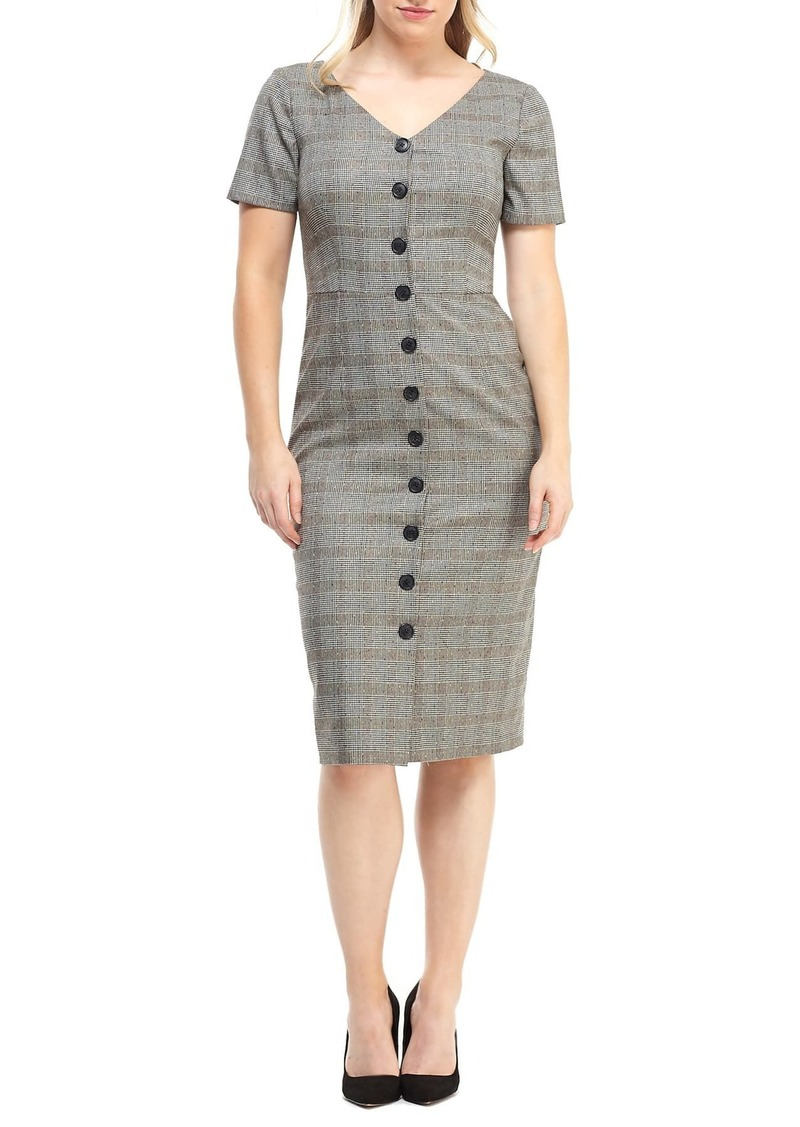 Maggy London Confetti Plaid Button Front Dress