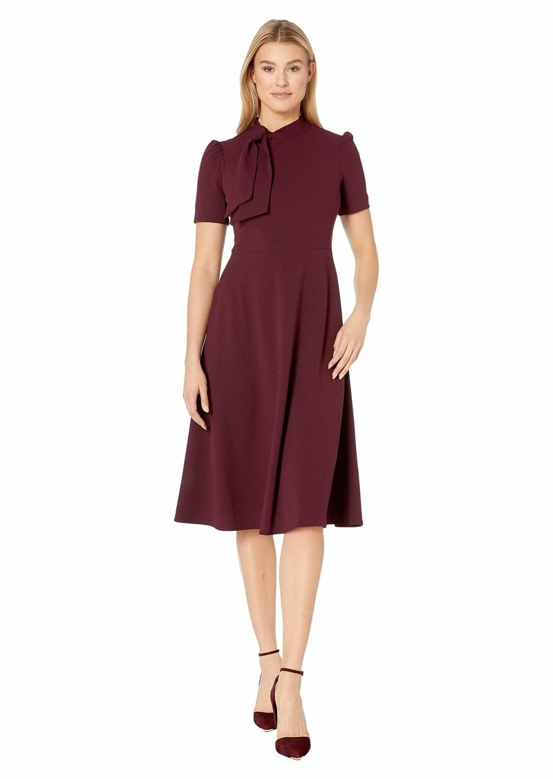 Maggy London Crepe Fit and Flare Dress with Neck Tie