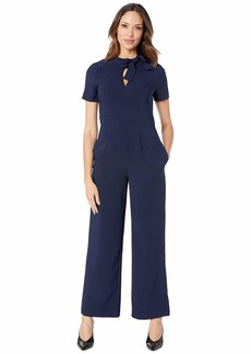 Maggy London Crepe Jumpsuit with Neck Tie