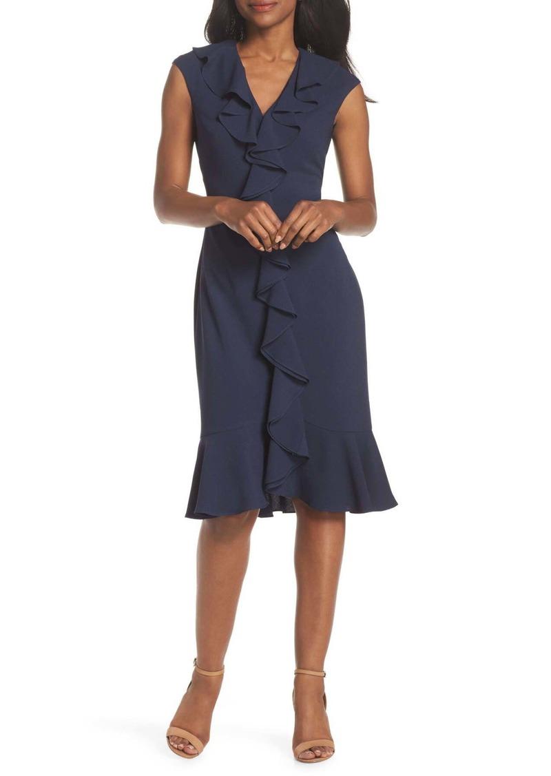 Maggy London Crepe Ruffle Front Sheath Dress (Regular & Petite)