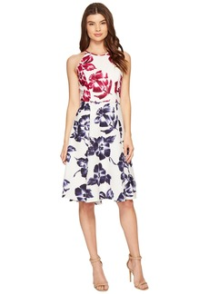 Maggy London Drapey Linen Sketch Blossom Hi-Lo Fit & Flare Dress