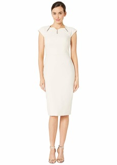 Maggy London Dream Crepe Sheath Dress with Ladder Trim Detail