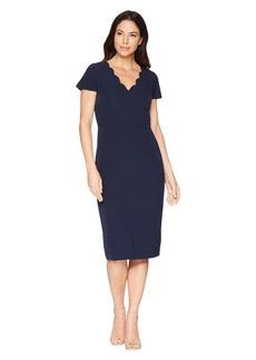 Maggy London Dream Crepe Sheath Dress with Scallop Neck