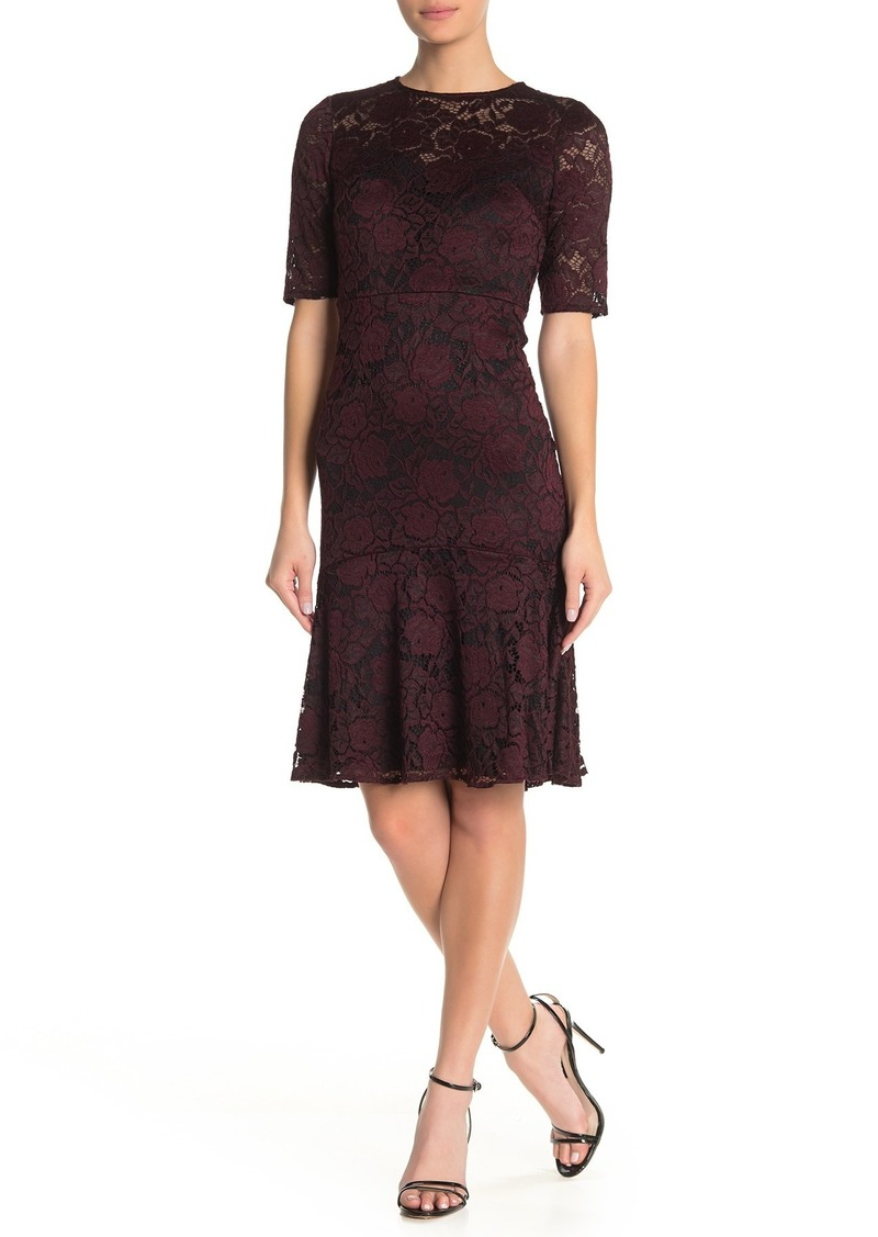 Maggy London Elbow Length Ruffle Hem Lace Sheath Dress
