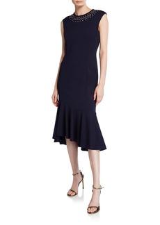 Maggy London Embellished Flounce-Hem Midi Dress