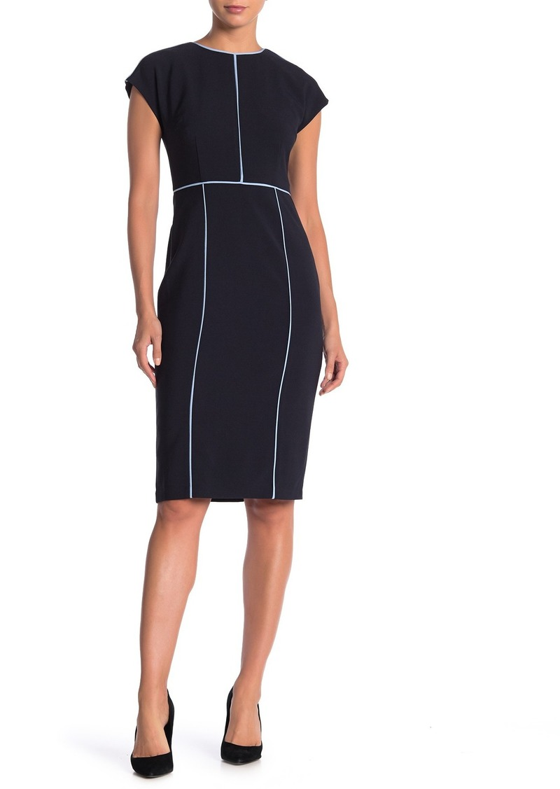 Maggy London Extended Shoulder Piped Sheath Dress