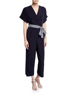Maggy London Faux-Wrap Kimono-Sleeve Jumpsuit