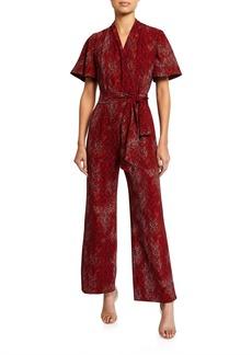 Maggy London Faux-Wrap Printed Jumpsuit