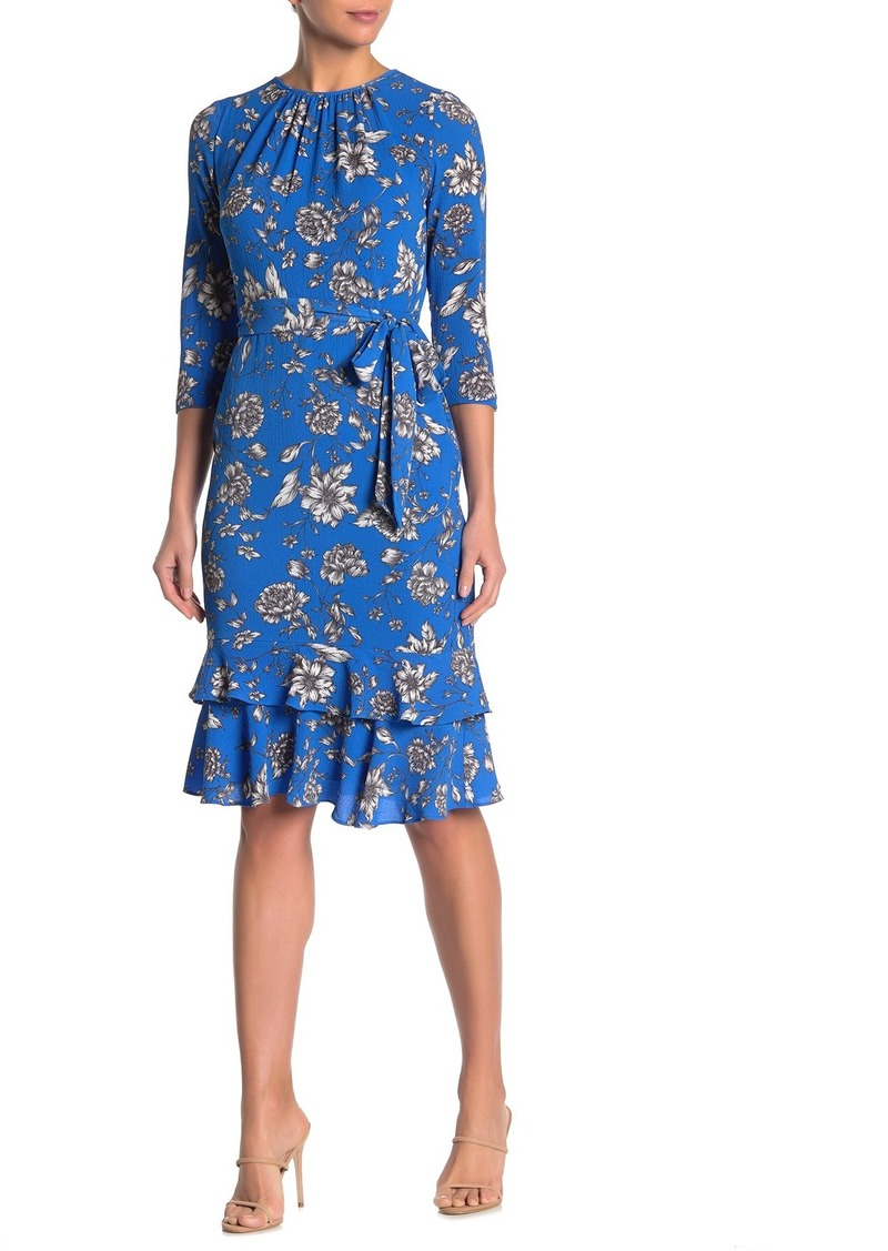 Maggy London Floral 3/4 Sleeve Ruffled Sheath Dress