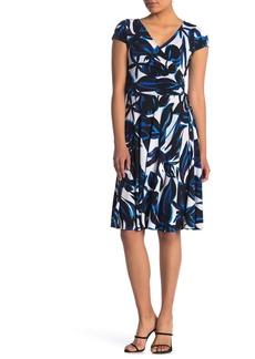 Maggy London Floral Cap Sleeve Faux Wrap Dress