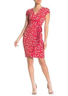 Maggy London Floral Cap Sleeve Wrap Dress