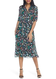 Maggy London Floral Chiffon Midi Shirtdress