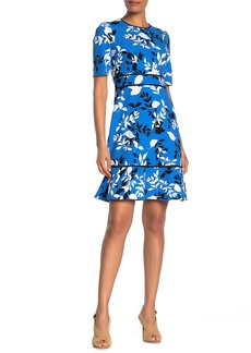 Maggy London Floral Elbow Sleeve Ruffled Crepe Dress