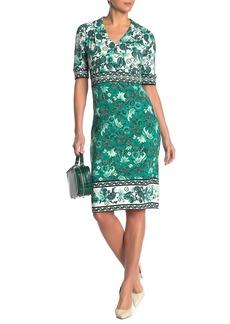 Maggy London Floral Paisley V-Neck Sheath Dress