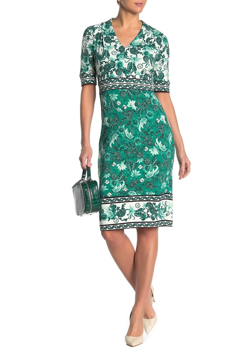 Maggy London Floral Paisley V-Neck Sheath Dress