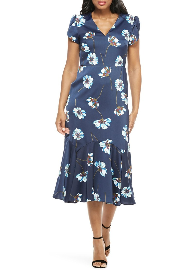 Maggy London Floral Print Charmeuse Midi Dress