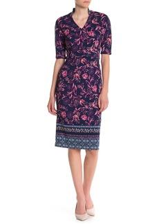 Maggy London Floral Print V-Neck Sheath Dress