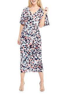 Maggy London Flutter Sleeve Faux Wrap Maxi Dress