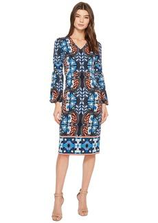 Maggy London Folk Print Jersey Midi Sheath Dress