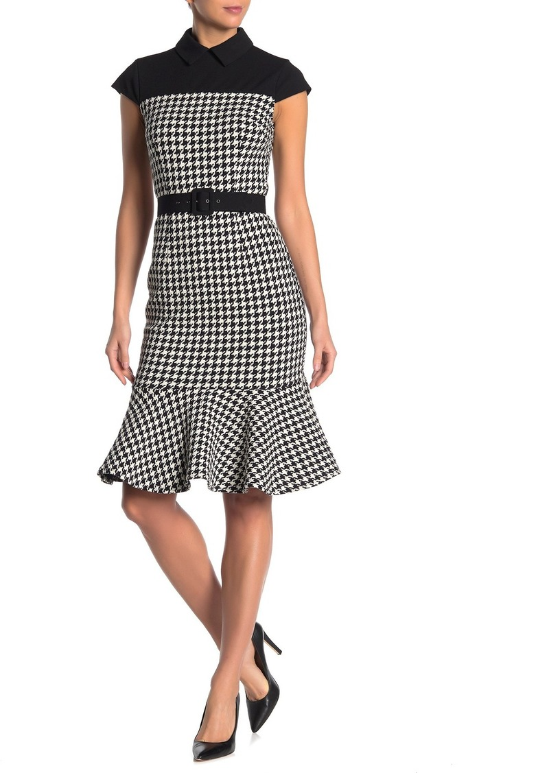 Maggy London Houndstooth Belted Flounced Sheath Dress