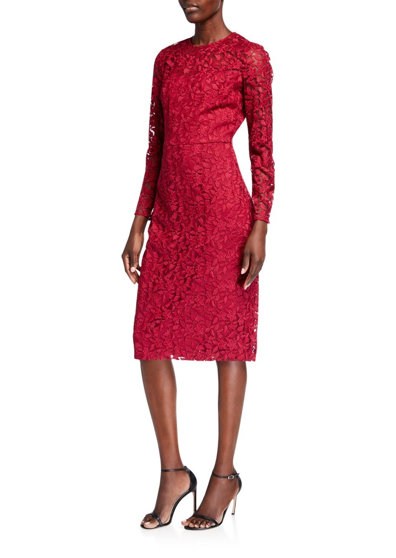 Maggy London Illusion-Neck Floral Embroidered Sheath Dress