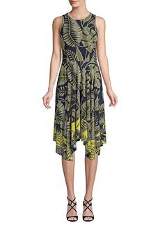 Maggy London Jewel Neck Hanky Hem Fit-&-Flare Dress