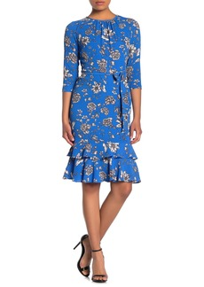 Maggy London Jewel Neck Ruffle Hem Sheath Dress (Petite)