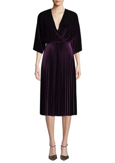 Maggy London Kimono Pleated Velvet Dress