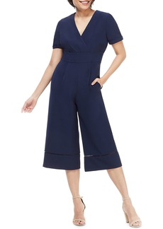 Maggy London Ladder-Stitched Wide-Leg Cropped Jumpsuit