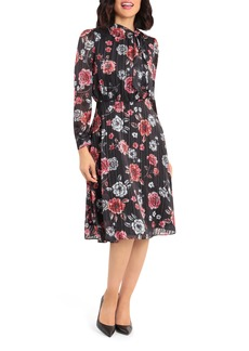 Maggy London Metallic Stripe Floral Midi Dress