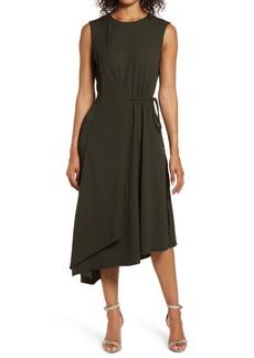 Maggy London Asymmetrical Drape Midi Dress
