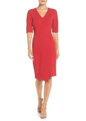 Maggy London Asymmetrical Ponte Sheath Dress