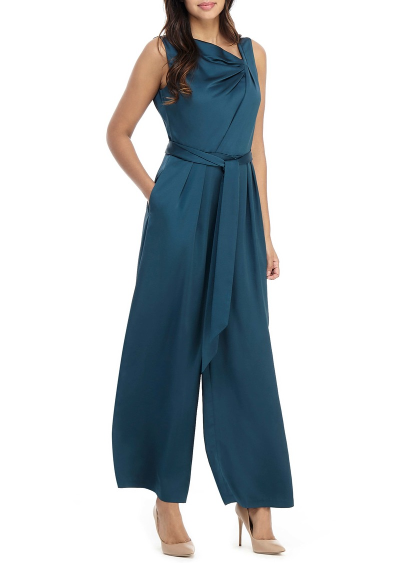 Maggy London Asymmetrical Wide Leg Satin Jumpsuit