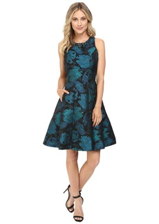 Maggy London Autumn Rose Jacquard Fit and Flare