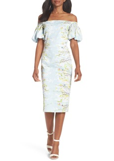 Maggy London Blossom Off the Shoulder Sheath Dress